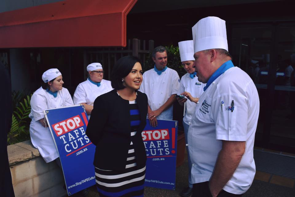 Prue Car campaigning for TAFE