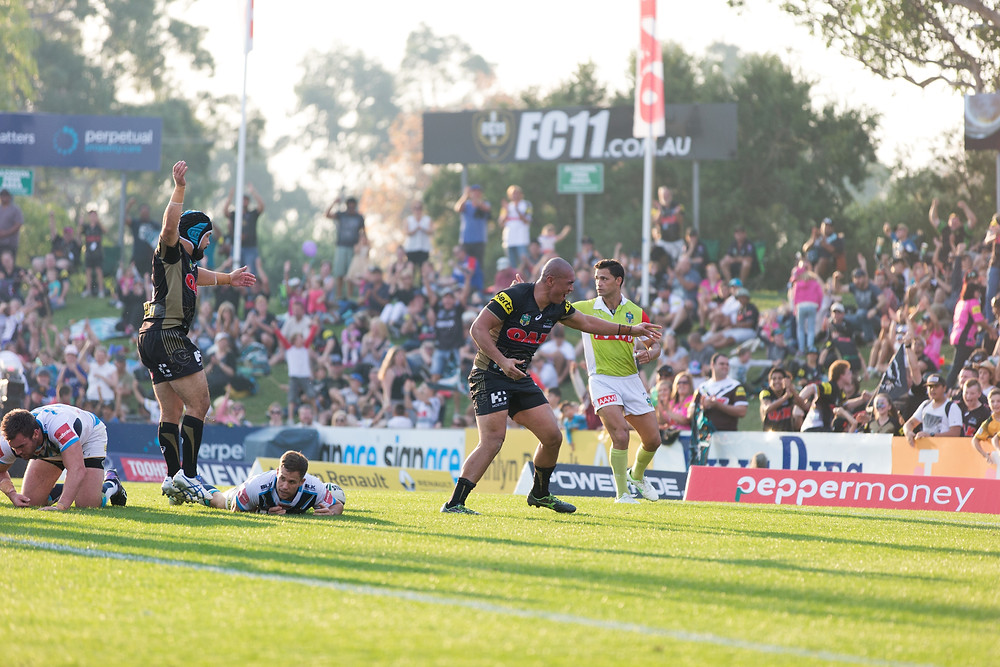 Leilani Latu celebrates scoring his first NRL try in style. Credit: 77 Media