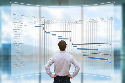 Man Looking at Gantt Chart
