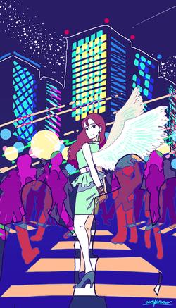 交差点に現れた天使