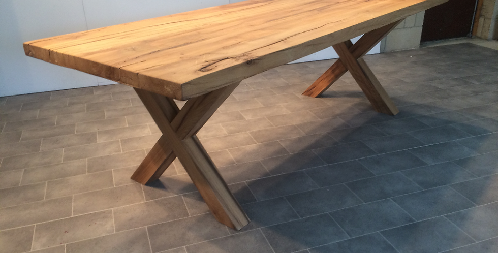 Solid Oak 1.8m 60cm table with wooden legs