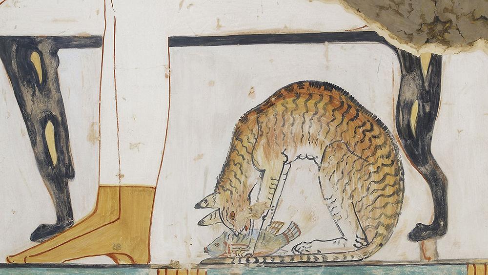 Кошка ест под обеденным столом. Примерная дата: после 1500 г. до н.э.  Эшмолеанский музей искусства и археологии