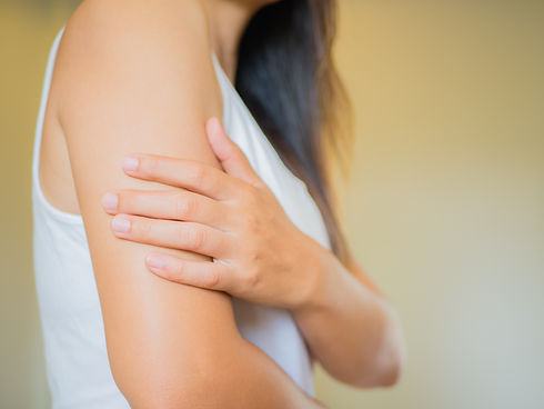 Closeup female's arm. Arm pain and injur