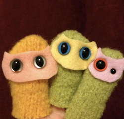 """Handcrafted wool """"kitty"""" puppets"""