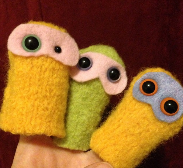 "Handcrafted wool ""bean"" puppets"
