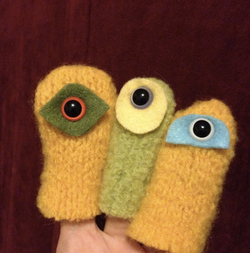 """Handcrafted wool """"cyclops"""" puppets"""