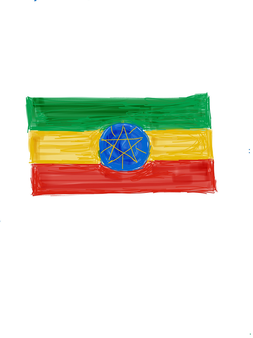Ethiopia's flag includes a blue medallion representing peace and a yellow star standing for diversity and unity. This emblem was added after the defeat of the Derg regime in 1996 (which was 1989 by the Ethiopian calendar). (iPad sketch by Lorraine Smith)