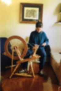B. Lorraine Smith enjoying a new spinning wheel while living in Auckland, NZ