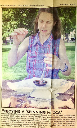 B. Lorraine Smith featured in a local newspaper while spinning her way across Canada in 2003.