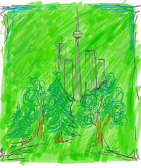 Hand drawn iPad doodle of leafy Toronto by B. Lorraine Smith
