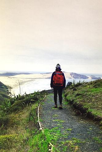 B. Lorraine Smith walking on New Zealand's Cape Reinga track (1997)