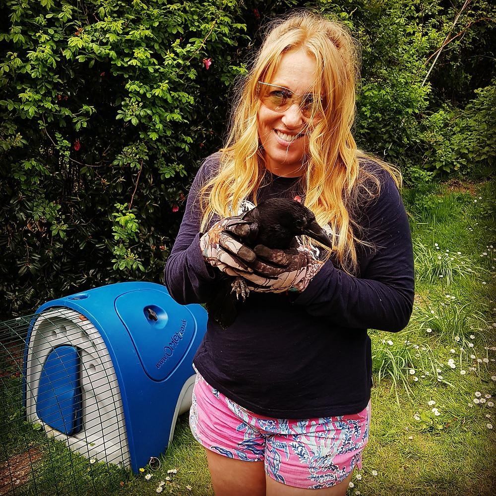 Ruth Saberton holding a wild bird