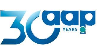 Logo de los 30 años de la empresa AAP