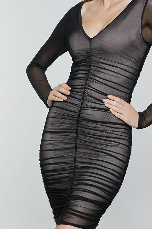 RUCHED BODYCON MESH V-DIPPED DRESS