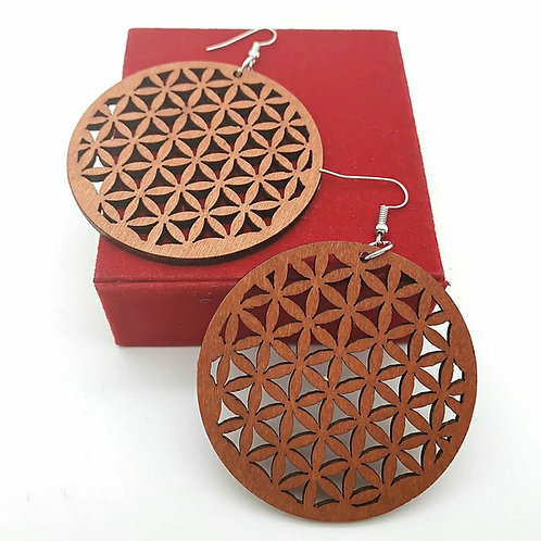 CIRCLE ENRICHED WOOD EARRINGZ
