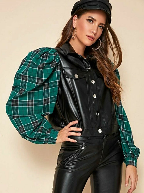 GREENLEAF LANTERN SLEEVE FAUX LEATHER JACKET