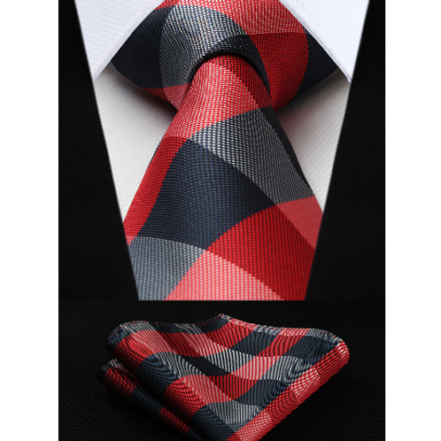 CRIMSON PLAID PODIUM~TIE & SQUAREZ SET