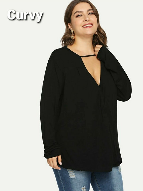 VEE CUTOUT PEEKABOO TOP