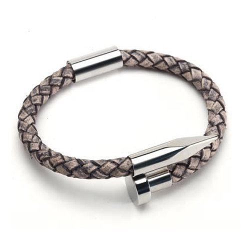 NAIL IT GENUINE LEATHER & 316L STAINLESS STEEL BRACELET