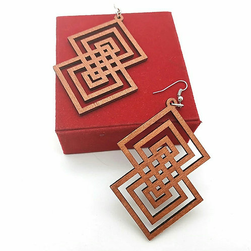 2  SQUARES ENRICHED WOOD EARRINGZ