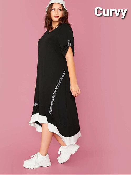 PINCH SLEEVE LETTER GRAPHIC CASUAL DRESS-Plus
