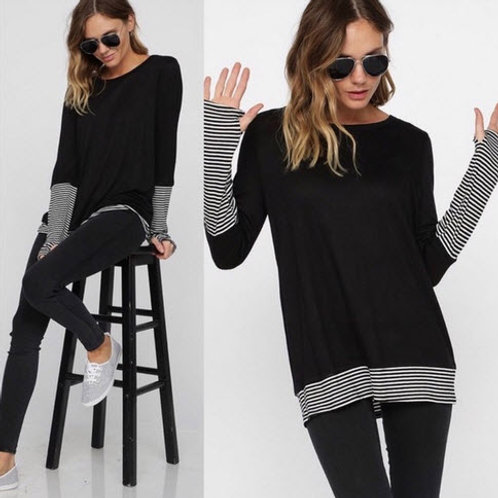 STRIPED STRIPED LONG SLEEVE KNIT
