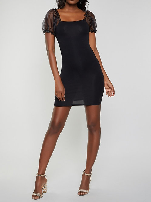 MESH PUFF SLEEVE FITTED COCKTAIL DRESS
