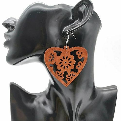 HEART ENRICHED WOOD EARRINGZ