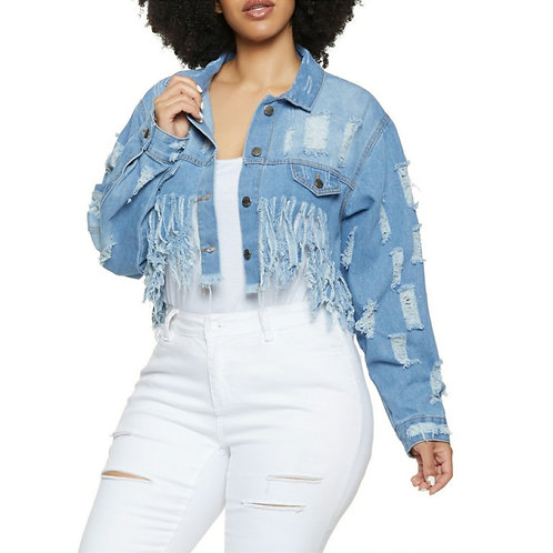 DESTROYED DELIGHT DENIM JACKETZ~Plus