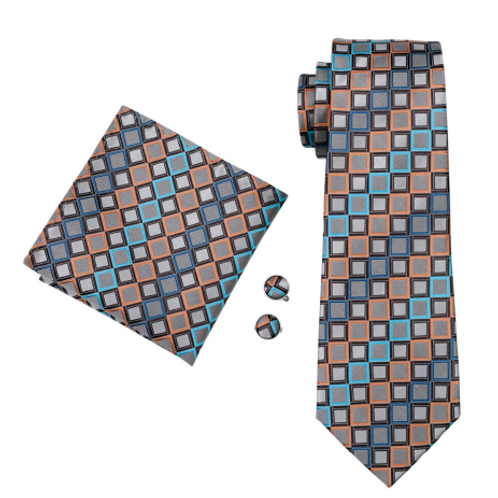 MADEIRA CHECKZ~TIE/SQUARE/CUFF SET