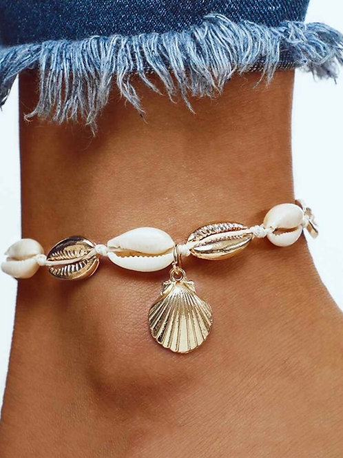 FAUX COWRY SHELLS CHARM ANKLET