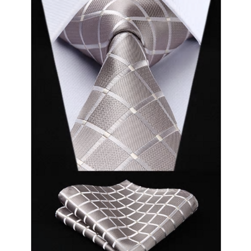 PLATINUM PLAID PLACEMENT~TIE & SQUAREZ SET