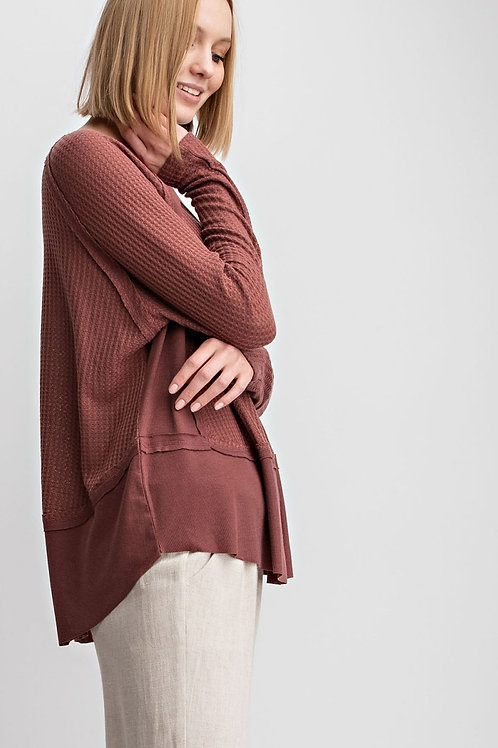 THERMAL KNIT CONTRAST RIB LOOSE FIT TUNIC