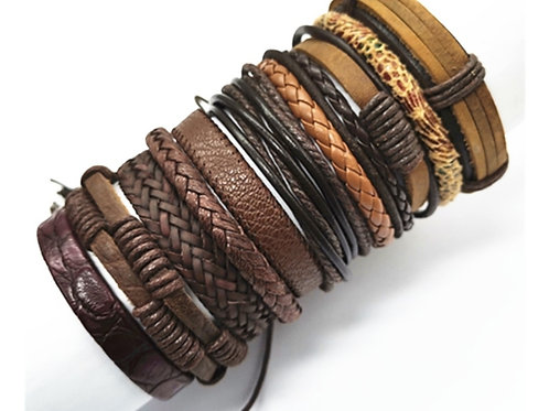 10 PIECE WOVEN LEATHER BRACELETZ~ASSORTED
