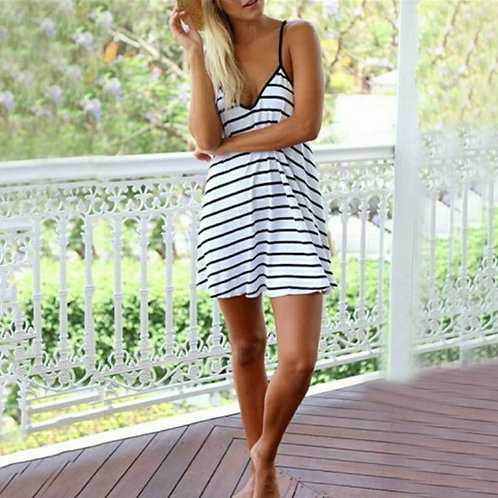 JUST STRIPES DEEP V MINI SUN DRESS