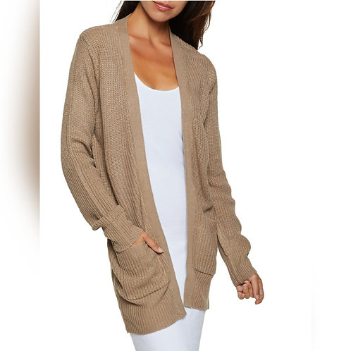 RIBBED TWO POCKET KNIT CARDIGAN