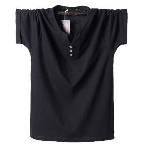 SOLID V NECK 3 BUTTON HENLEY