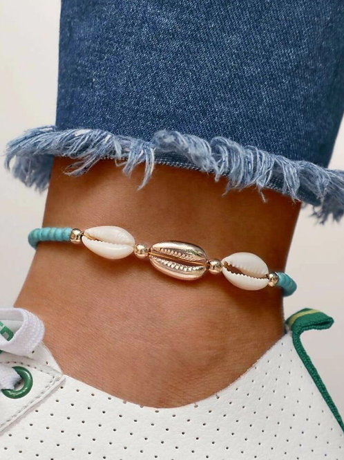 TEAL BEADED STONES WITH COWRY SHELLS ANKLET