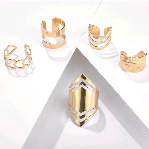AZTEC GEOMETRIC RING SET 5 PIECE