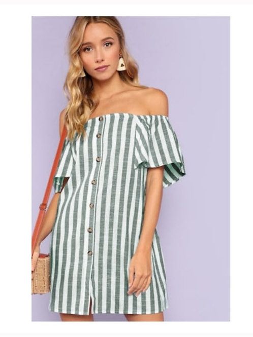 CANDY STRIPED PRETTY SHOULDER DRESS