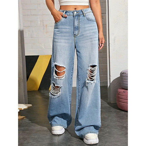 DISTRESSED BAGGY JEANS - HIGH WAIST