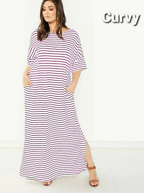 STRIPED CURVED HEM MAXI DRESS PLUS