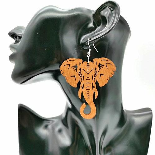 ELEPHANT ENRICHED WOOD EARRINGZ