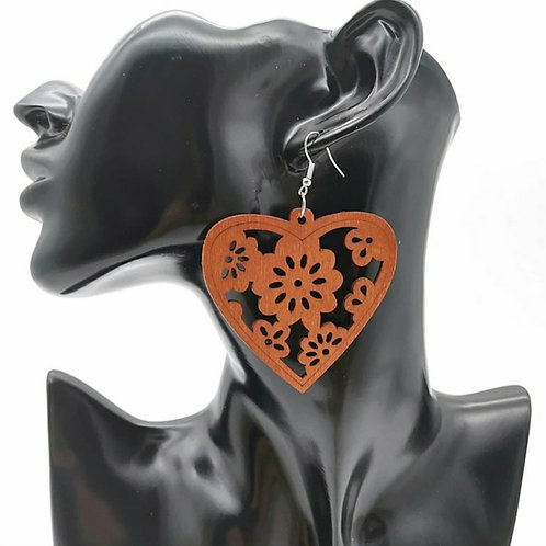 HEART ENRICHED WOOD EARRINGZ
