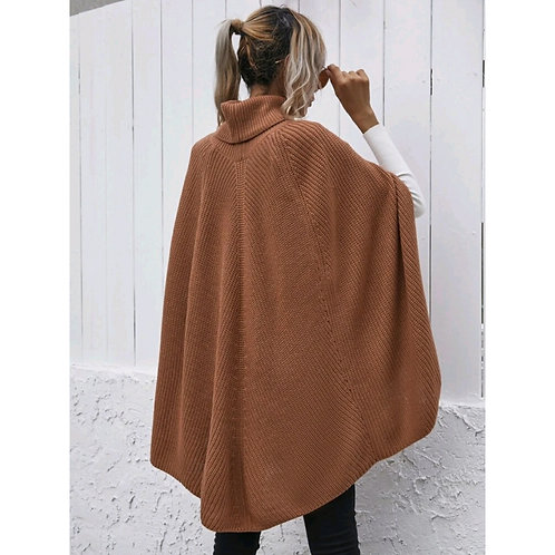 SOLID TURTLENECK RIBBED PONCHO