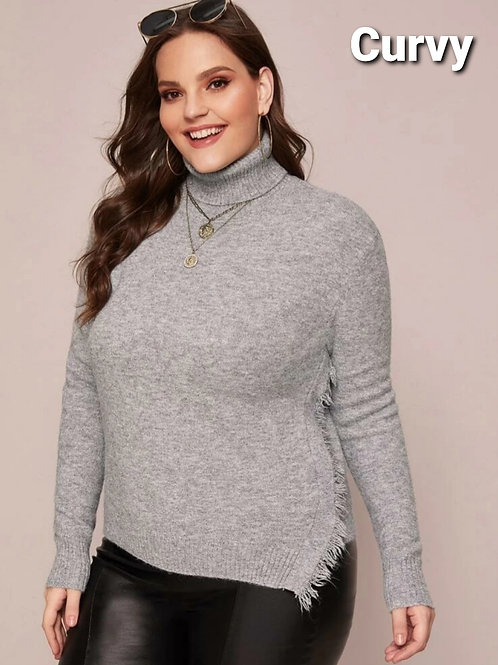 FRAYED TRIM TURTLENECK SWEATER-Plus
