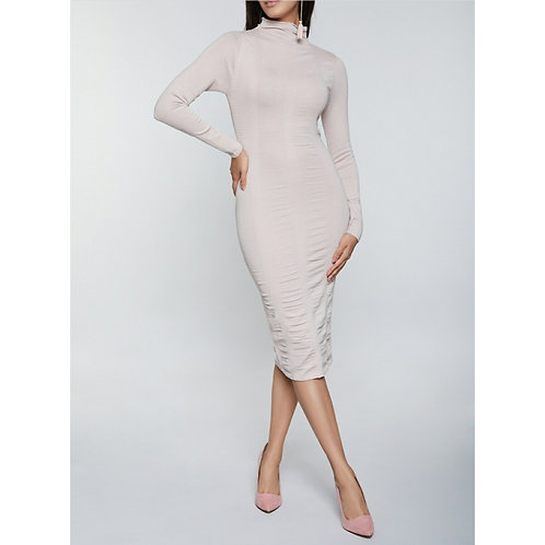 RUCHED CAPPED NECK LONG SLEEVE MIDI DRESS