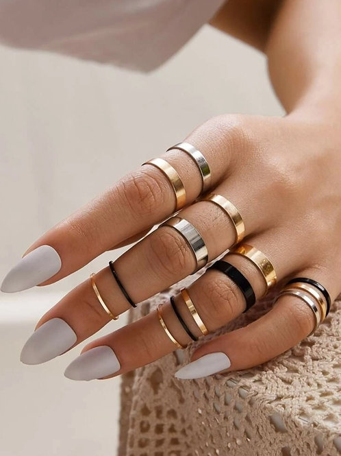 SMOOTH MINIMAL KNUCKLE RINGZ SET~14 PIECE