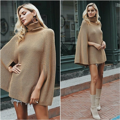 AUTUMN LUCY RIBBED PONCHO