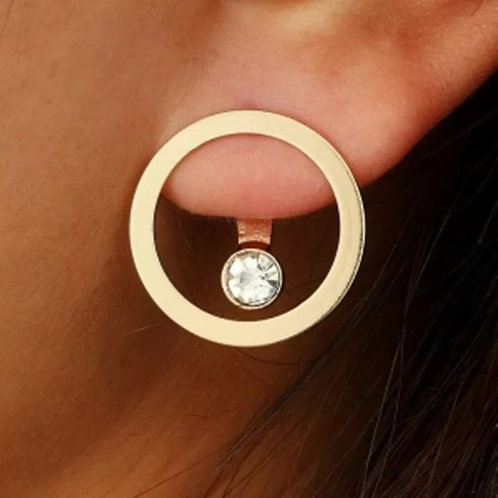 CIRCLED RHINESTONE DIAMOND CENTER EARRINGZ